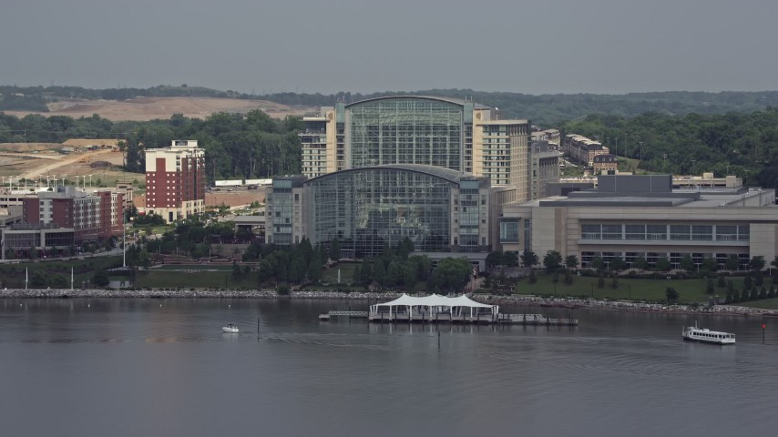 5K aerial video approaching Gaylord National Resort & Convention Center in National Harbor, Maryland Aerial Stock Footage | AX75_040