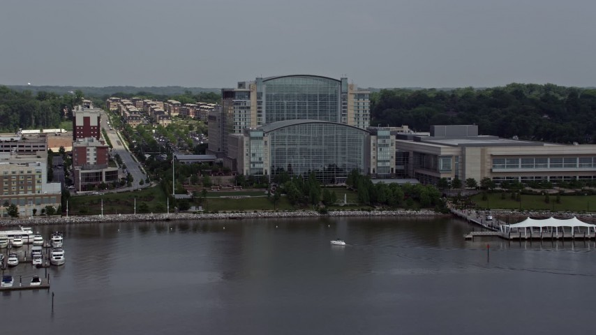 5K stock footage aerial video of the Waterfront Gaylord National Resort & Convention Center in National Harbor, Maryland Aerial Stock Footage | AX75_041