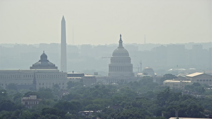 5K stock footage aerial video of Washington Monument behind Capitol Building and the Supreme Court in Washington DC Aerial Stock Footage | AX75_064