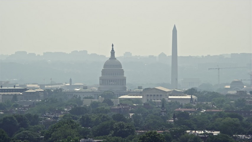 5K stock footage aerial video of the United States Capitol, Supreme Court, and the Washington Monument in Washington DC Aerial Stock Footage | AX75_065