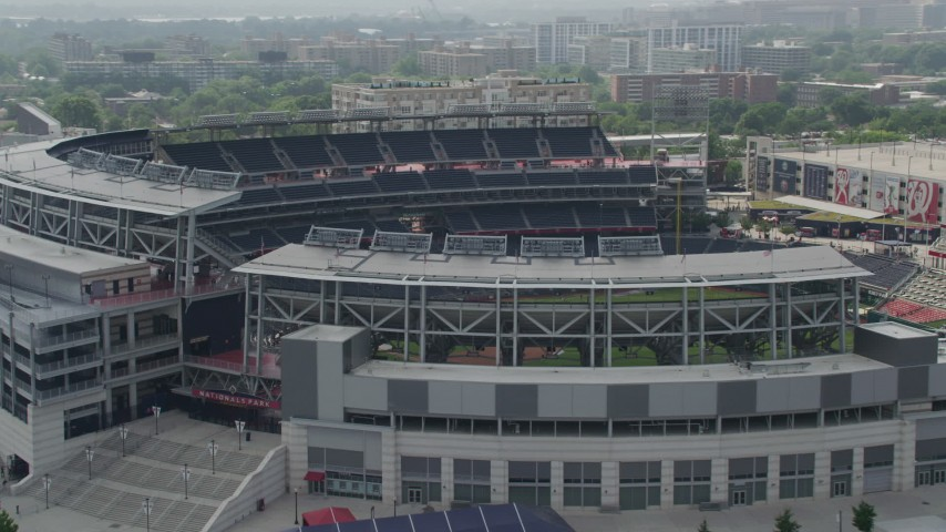 5K stock footage aerial video approaching Nationals Park Baseball Stadium in Washington DC Aerial Stock Footage AX75_071