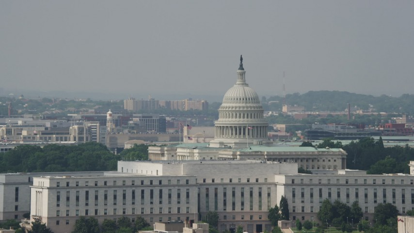 5K stock footage aerial video of the United States Capitol and Rayburn House Office Building in Washington DC Aerial Stock Footage | AX75_073