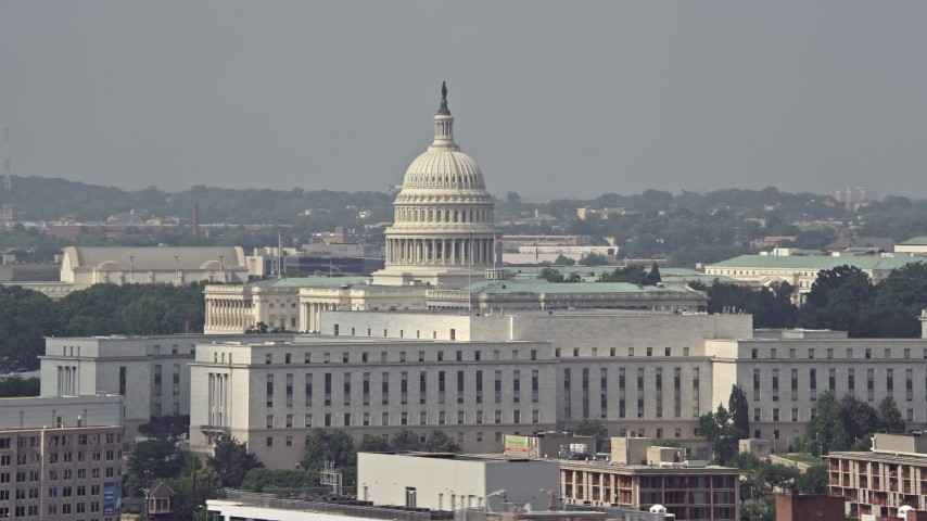 5K stock footage aerial video of the United States Capitol and Rayburn House Office Building in Washington DC Aerial Stock Footage | AX75_073E