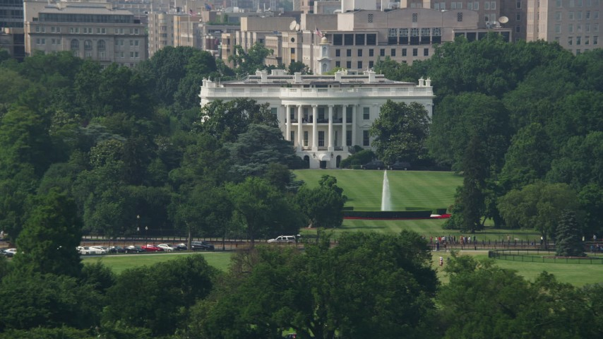 5K stock footage aerial video of the White House and South Lawn Fountain in Washington DC Aerial Stock Footage | AX75_078