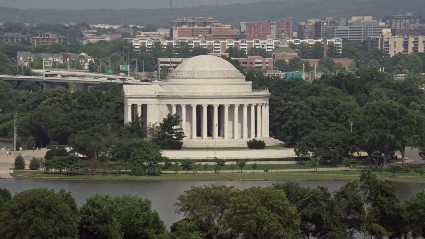 5K stock footage aerial video approaching the Jefferson Memorial in Washington DC Aerial Stock Footage | AX75_085