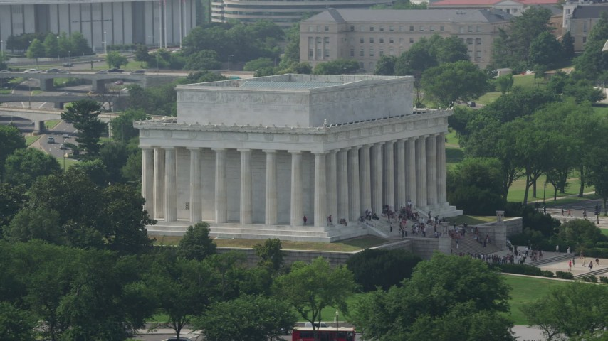 5K stock footage aerial video of Lincoln Memorial at the National Mall in Washington DC Aerial Stock Footage | AX75_088