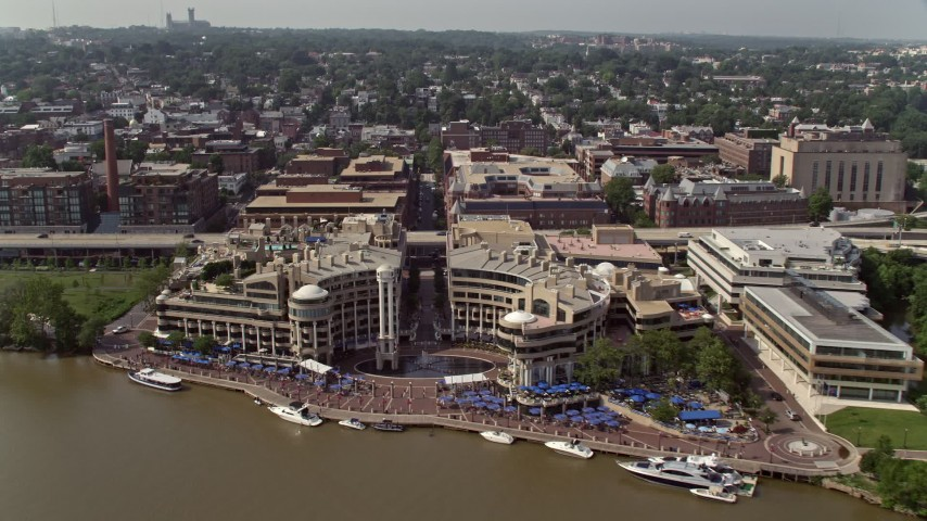 5K stock footage aerial video approaching and tilting to the Washington Harbour in Georgetown, Washington DC Aerial Stock Footage | AX75_092
