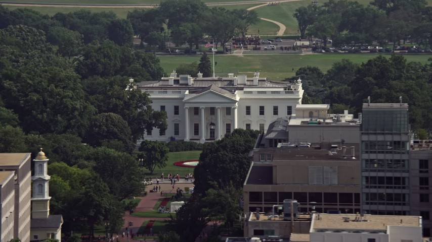 5K stock footage aerial video of the North Side of The White House in Washington DC Aerial Stock Footage | AX75_096E