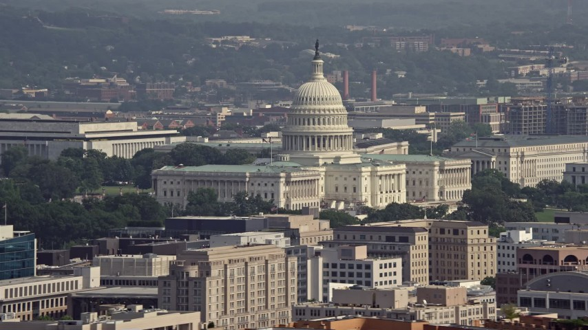 5K stock footage aerial video of the United States Capitol in Washington DC Aerial Stock Footage   AX75_098E