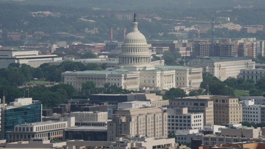 5K stock footage aerial video of the United States Capitol Building in Washington DC Aerial Stock Footage | AX75_099