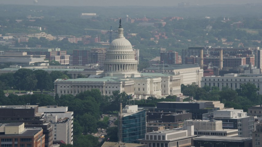 5K stock footage aerial video of the United States Capitol Building, Washington DC Aerial Stock Footage | AX75_100