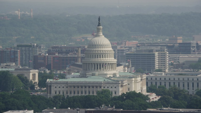 5K stock footage aerial video of the North Side of the United States Capitol in Washington DC Aerial Stock Footage | AX75_101
