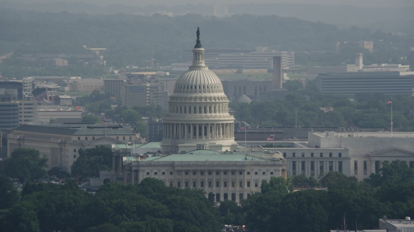 5K stock footage aerial video of the North Side of United States Capitol Building in Washington DC Aerial Stock Footage | AX75_102