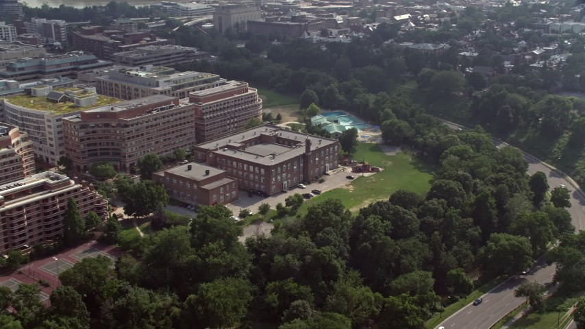5K stock footage aerial video of the Francis-Stevens Education Campus in Washington DC Aerial Stock Footage | AX75_113