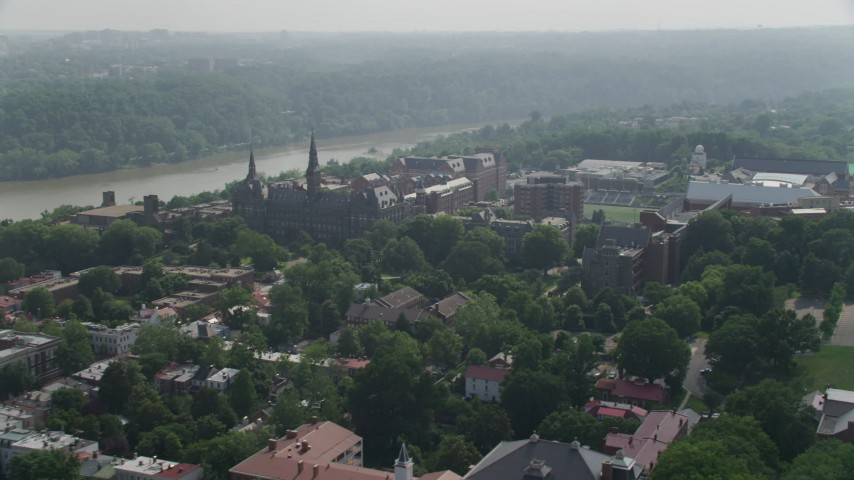 5K stock footage aerial video of Georgetown University Campus in Washington DC Aerial Stock Footage | AX75_116