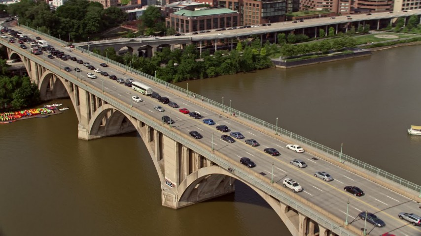 5K stock footage aerial video of heavy traffic on the Francis Scott Key Bridge in Washington DC Aerial Stock Footage | AX75_122