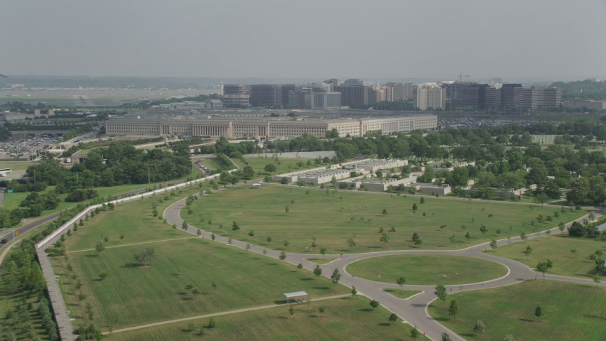 5K stock footage aerial video of The Pentagon seen from Arlington National Cemetery in Washington DC Aerial Stock Footage | AX75_126