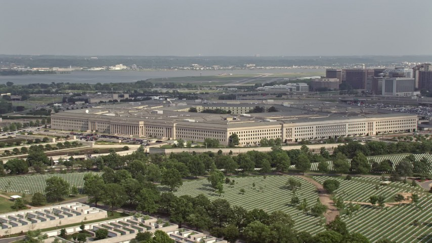 5K stock footage aerial video of The Pentagon seen from Arlington National Cemetery in Washington DC Aerial Stock Footage | AX75_126E