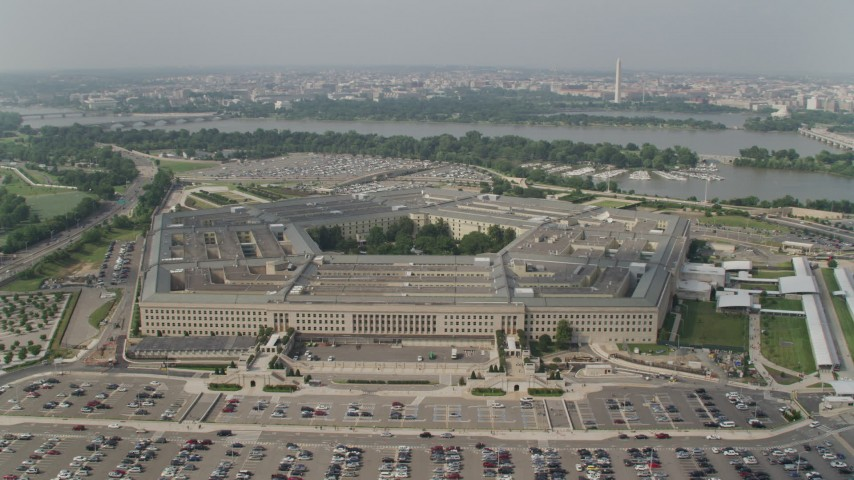 5K stock footage aerial video orbiting The Pentagon in Washington DC with Potomac River in the background Aerial Stock Footage | AX75_130