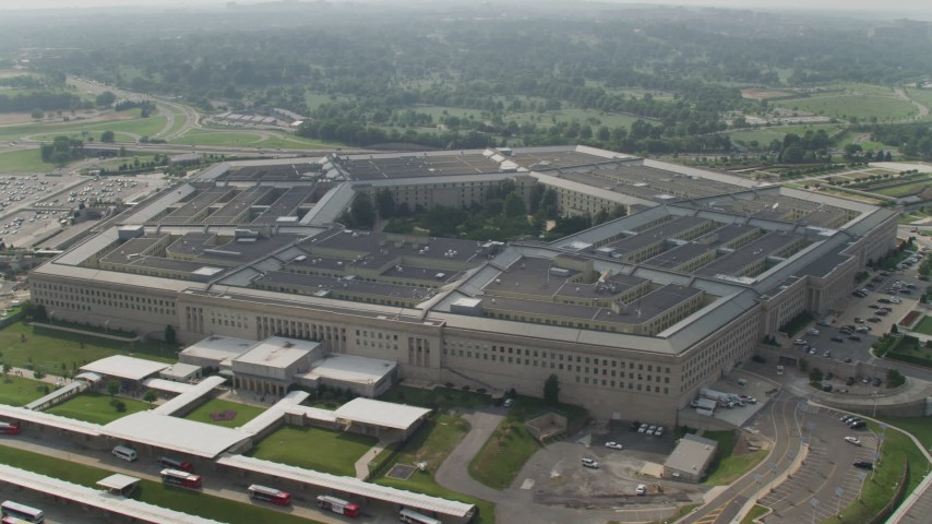 5K stock footage aerial video orbiting around The Pentagon in Washington DC Aerial Stock Footage | AX75_132