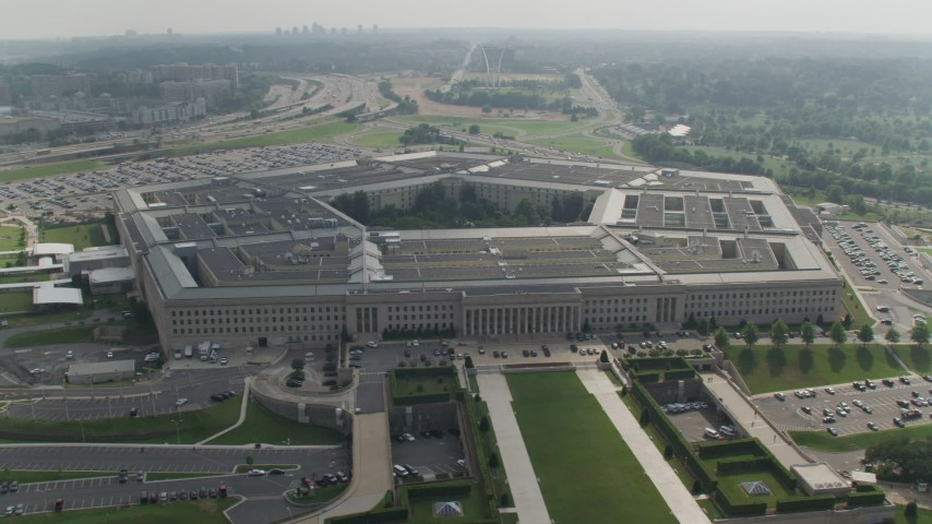 5K stock footage aerial video orbiting around The Pentagon in Washington DC Aerial Stock Footage | AX75_133