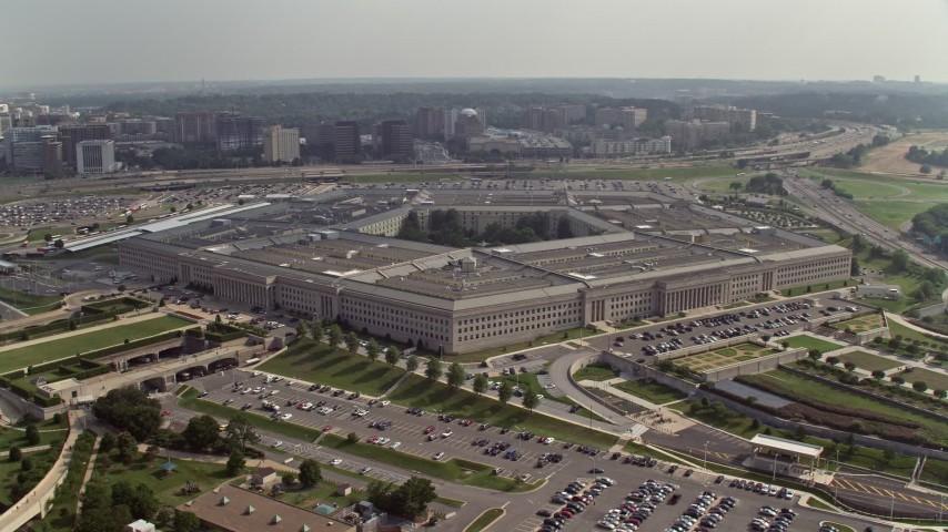 5K stock footage aerial video orbiting around The Pentagon in Washington DC Aerial Stock Footage | AX75_133E