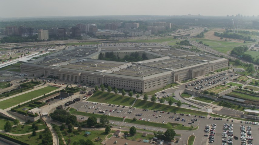 5K aerial video orbiting side of The Pentagon in Washington DC Aerial Stock Footage | AX75_134