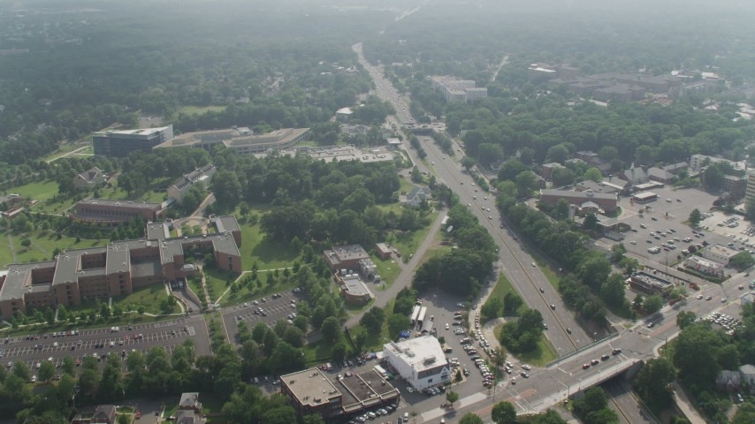 5K stock footage aerial video approaching National Guard Bureau by Highway 50 in Arlington, Virginia Aerial Stock Footage | AX75_142