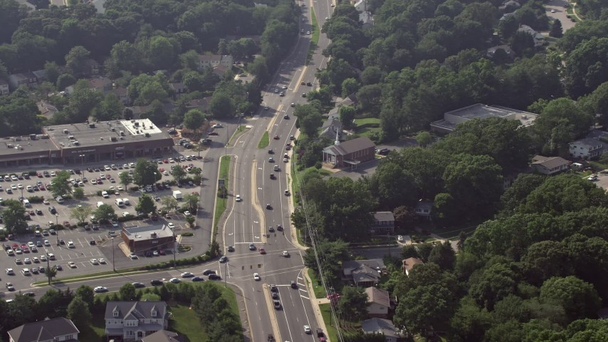 5K aerial video of a church by Braddock Road in Fairfax, Virginia Aerial Stock Footage | AX75_158