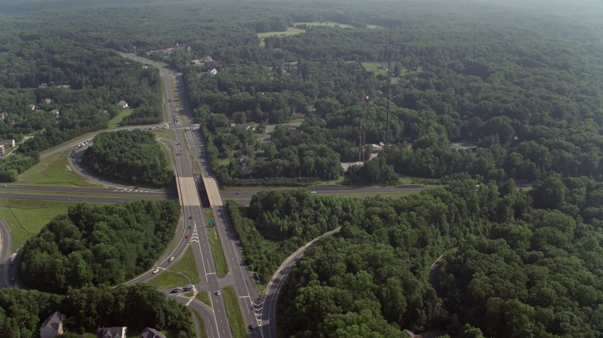 5K stock footage aerial video of radio towers beside the Ox Road and Fairfax County Parkway crossing in Fairfax Station, Virginia Aerial Stock Footage | AX75_164