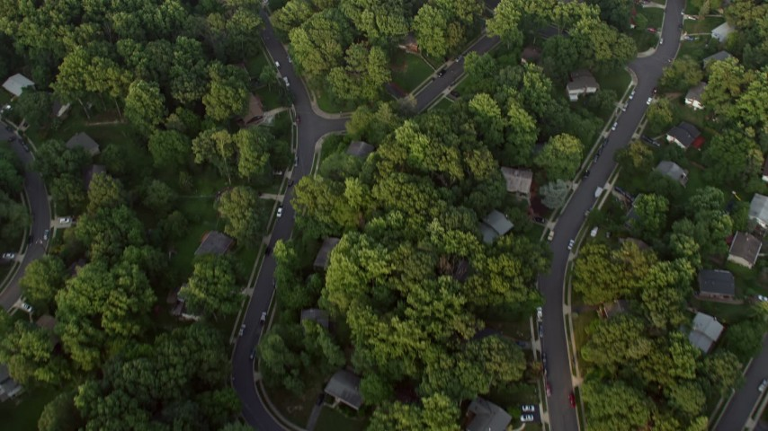 5K stock footage aerial video of a bird's eye view of neighborhood and high school baseball fields, Springfield, Virginia, sunset Aerial Stock Footage | AX76_021