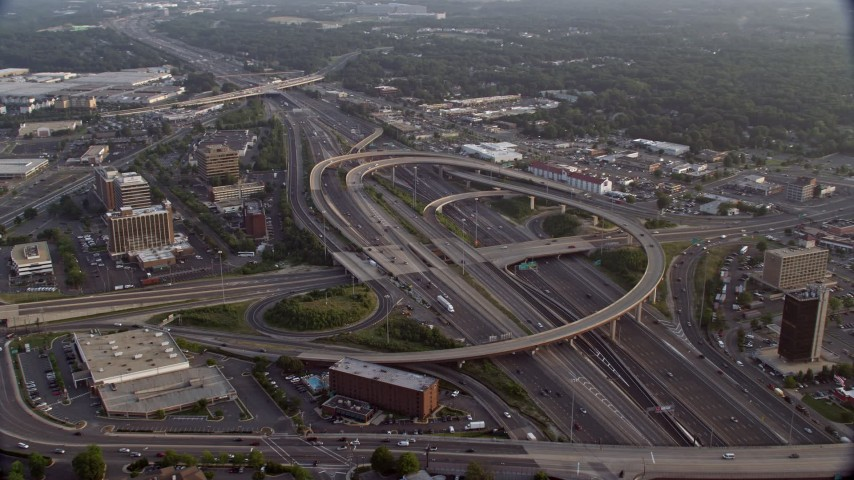 5K stock footage aerial video of Interstate 95 Interchange, Springfield, Virginia, sunset Aerial Stock Footage | AX76_022