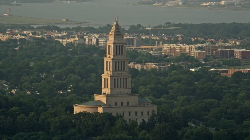 5K stock footage aerial video of George Washington Masonic National Memorial, Alexandria, Virginia, sunset Aerial Stock Footage | AX76_028
