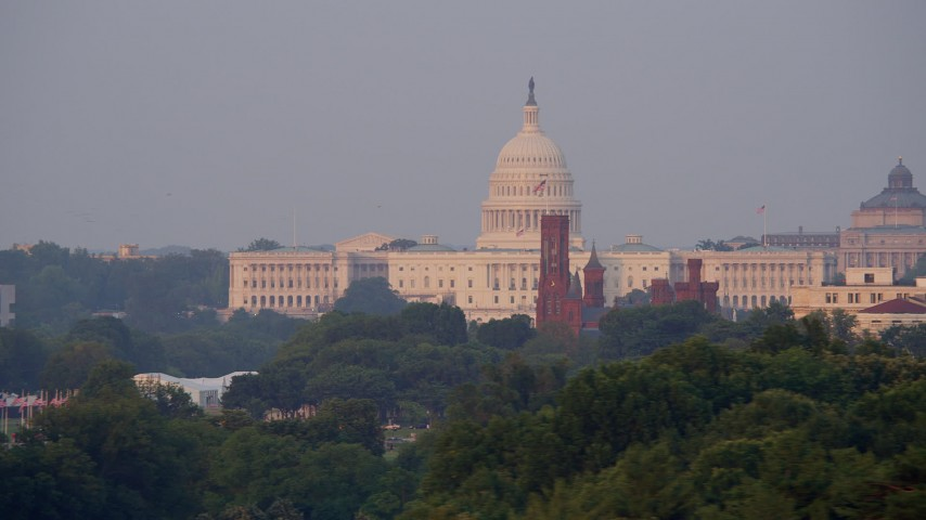 5K stock footage aerial video of the United States Capitol, Washington Monument, National Mall, Lincoln Memorial, Washington D.C., sunset Aerial Stock Footage | AX76_057