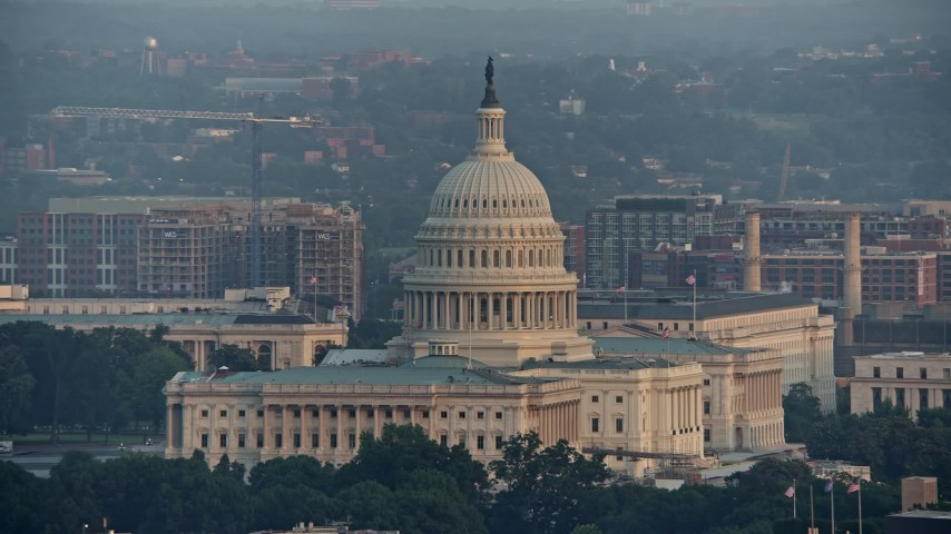 5K aerial video of the United States Capitol, Washington D.C., sunset Aerial Stock Footage | AX76_082