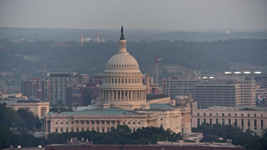 5K stock footage aerial video of the United States Capitol, Washington D.C., sunset Aerial Stock Footage | AX76_102