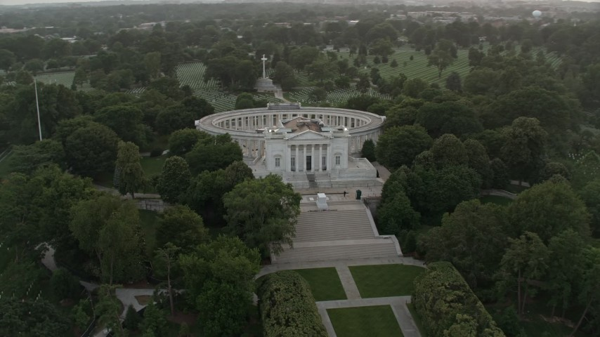 5K stock footage aerial video of the Tomb of the Unknown Soldier, Arlington National Cemetery, Arlington, Virginia, twilight Aerial Stock Footage | AX76_120
