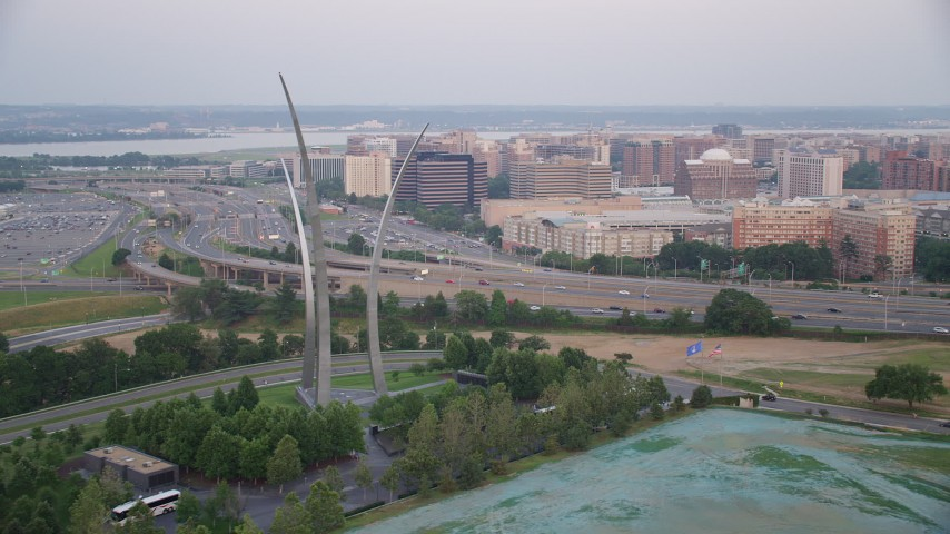 5K stock footage aerial video of the United States Air Force Memorial, reveal The Pentagon, Arlington, Virginia, twilight Aerial Stock Footage | AX76_122