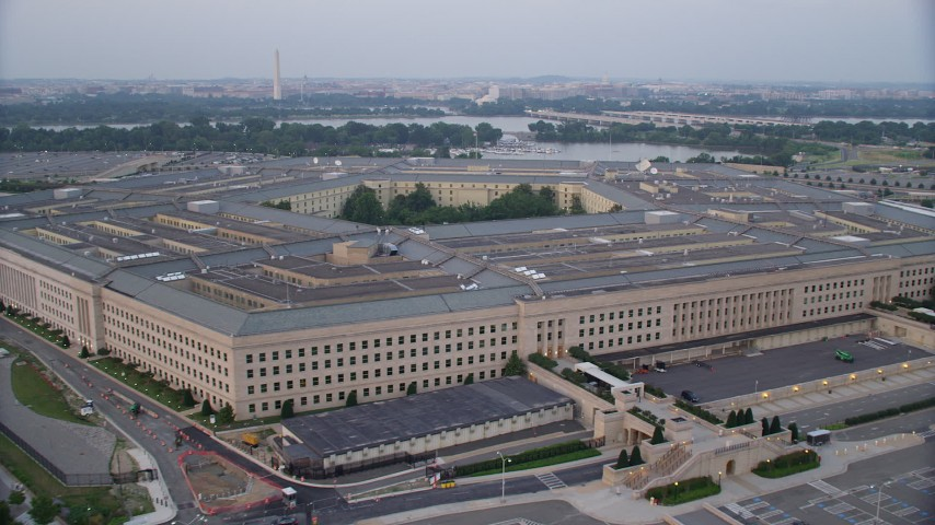 5K aerial video orbiting The Pentagon, Washington, D.C., twilight Aerial Stock Footage AX76_124