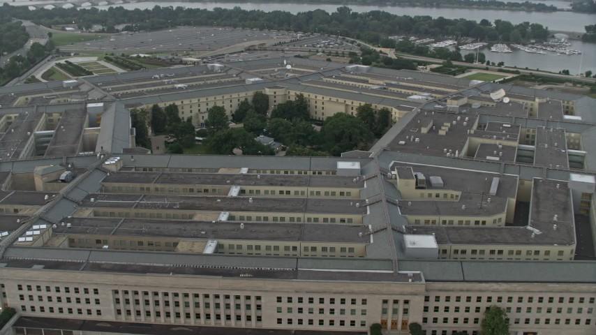 5K stock footage aerial video orbiting The Pentagon, Washington, D.C., twilight Aerial Stock Footage | AX76_124E
