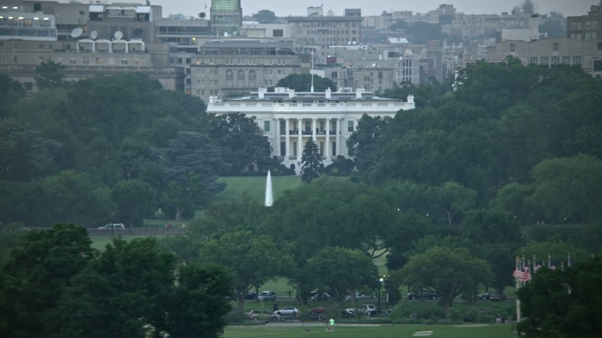 5K stock footage aerial video of the White House, eclipsed by Washington Monument, Washington, D.C., twilight Aerial Stock Footage | AX76_131E