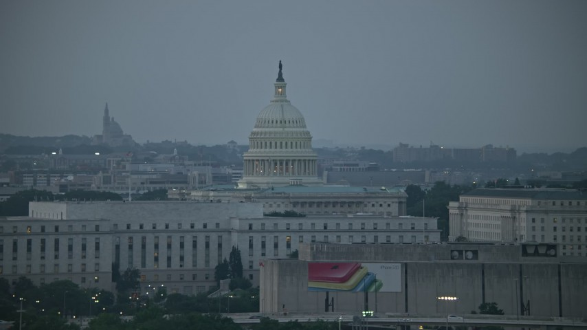5K stock footage aerial video United States Capitol, Rayburn House Office Building, Washington, D.C., twilight Aerial Stock Footage | AX76_146