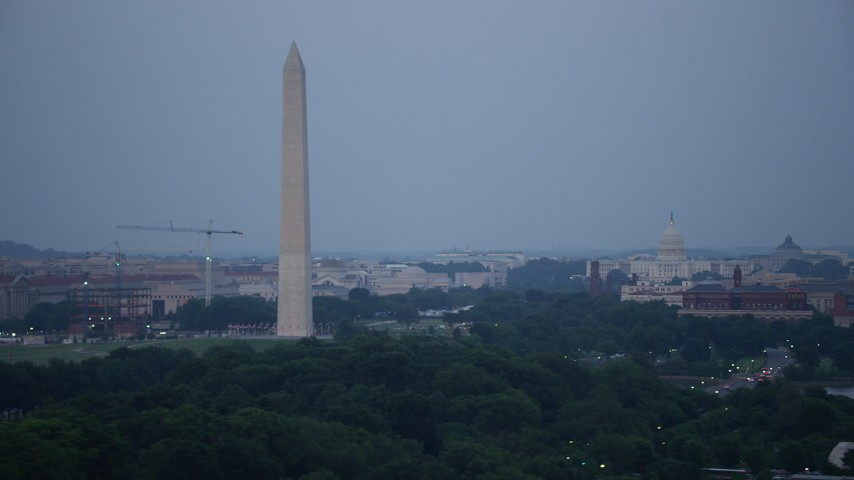 5K stock footage aerial video of the Washington Monument, National Mall, United States Capitol, Lincoln Memorial, Washington, D.C., twilight Aerial Stock Footage | AX76_153