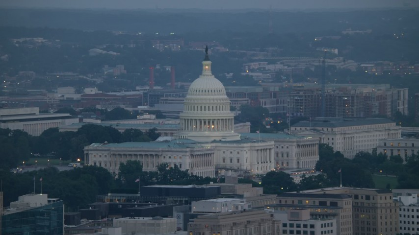 5K aerial video of the United States Capitol in Washington, D.C., twilight Aerial Stock Footage | AX76_160