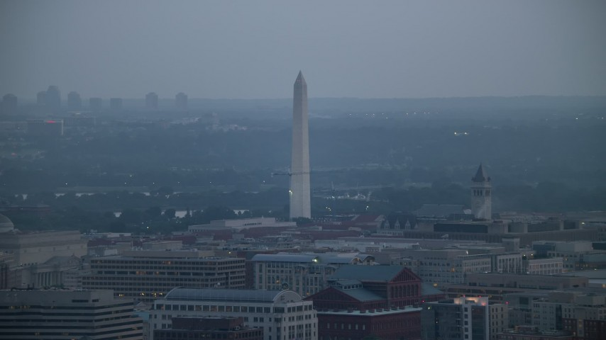 5K stock footage aerial video of the Washington Monument in Washington, D.C., twilight Aerial Stock Footage AX76_164 | Axiom Images