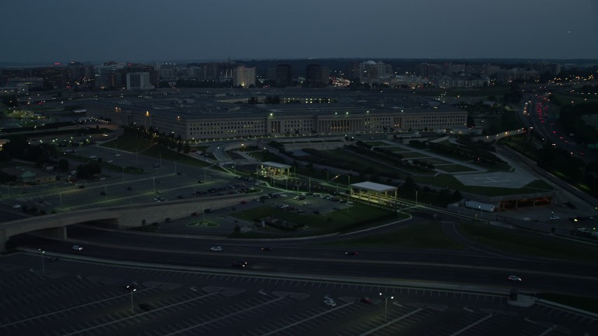 5K aerial video approaching The Pentagon in Washington, D.C., night Aerial Stock Footage | AX76_186