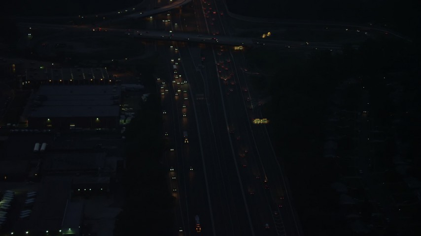 5K stock footage aerial video of heavy traffic on Interstate 495, Springfield, Virginia, night Aerial Stock Footage | AX76_191