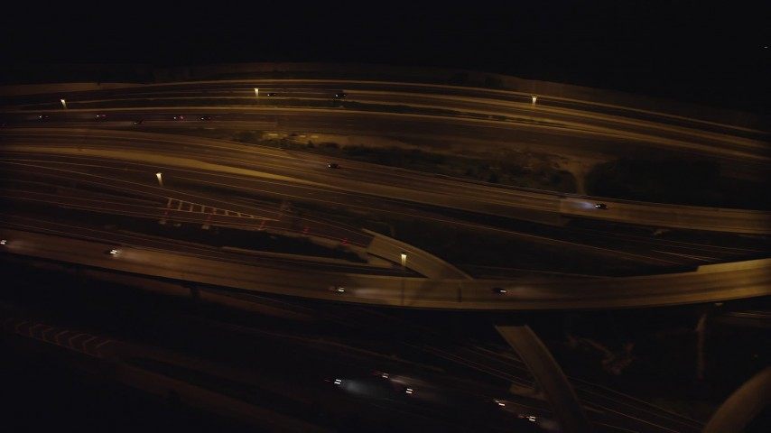 5K stock footage aerial video of a bird's eye view of light traffic on Interstate 95, Alexandria, Virginia, night Aerial Stock Footage | AX77_003