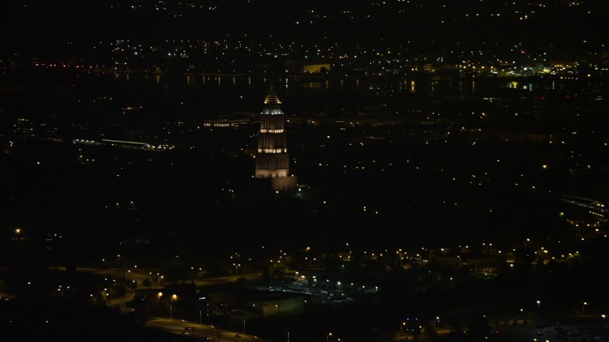 5K stock footage aerial video of the George Washington Masonic National Memorial, Alexandria, Virginia, night Aerial Stock Footage | AX77_007
