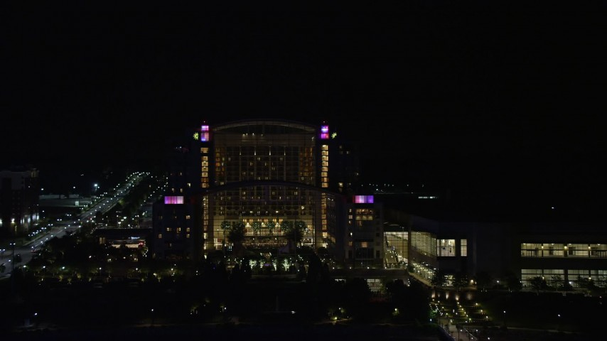 5K aerial video of Gaylord National Resort & Convention Center, National Harbor, Maryland, night Aerial Stock Footage | AX77_017